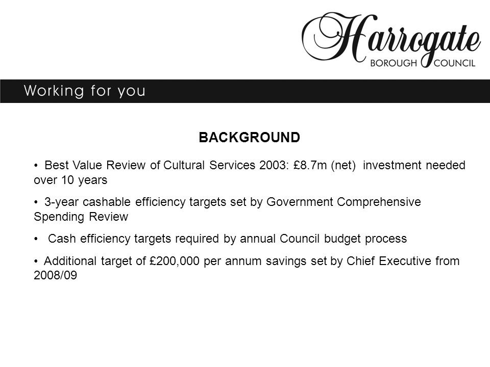 BACKGROUND Best Value Review of Cultural Services 2003: £8.7m (net) investment needed over 10 years 3-year cashable efficiency targets set by Government Comprehensive Spending Review Cash efficiency targets required by annual Council budget process Additional target of £200,000 per annum savings set by Chief Executive from 2008/09