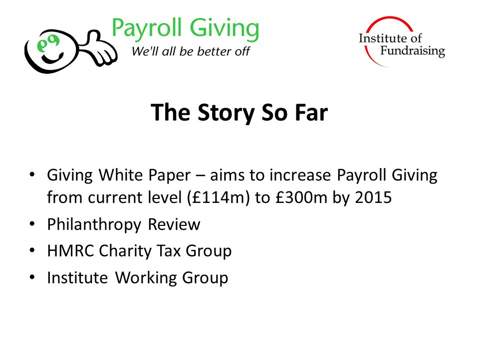 The Story So Far Giving White Paper – aims to increase Payroll Giving from current level (£114m) to £300m by 2015 Philanthropy Review HMRC Charity Tax Group Institute Working Group