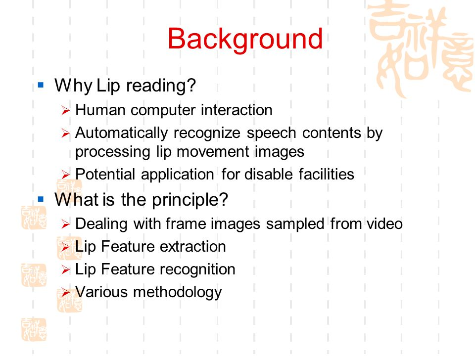 Background  Why Lip reading.