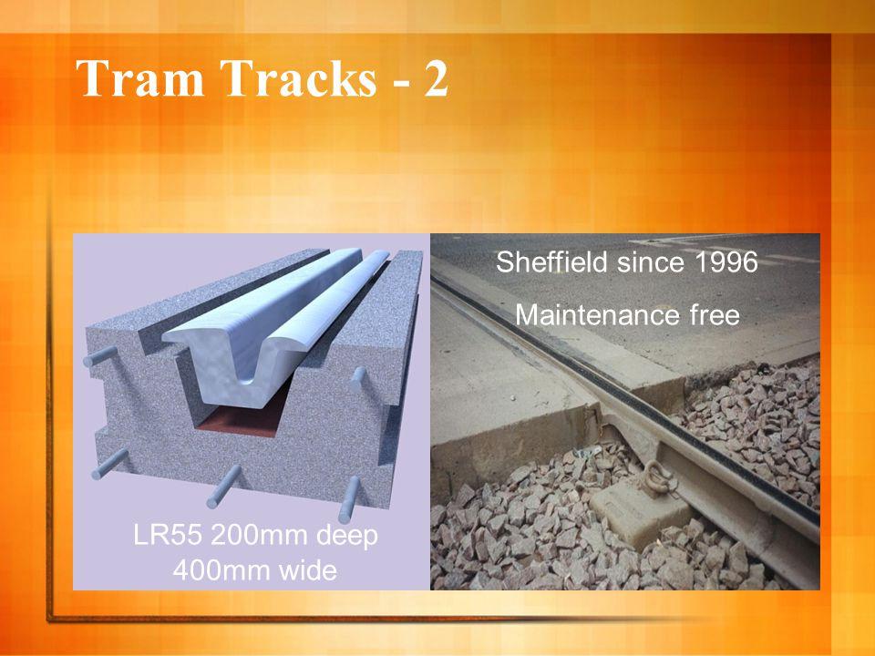 Tram Tracks - 2 LR55 200mm deep 400mm wide Sheffield since 1996 Maintenance free
