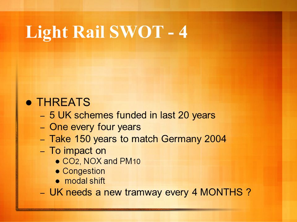 Light Rail SWOT - 4 THREATS – 5 UK schemes funded in last 20 years – One every four years – Take 150 years to match Germany 2004 – To impact on CO 2,