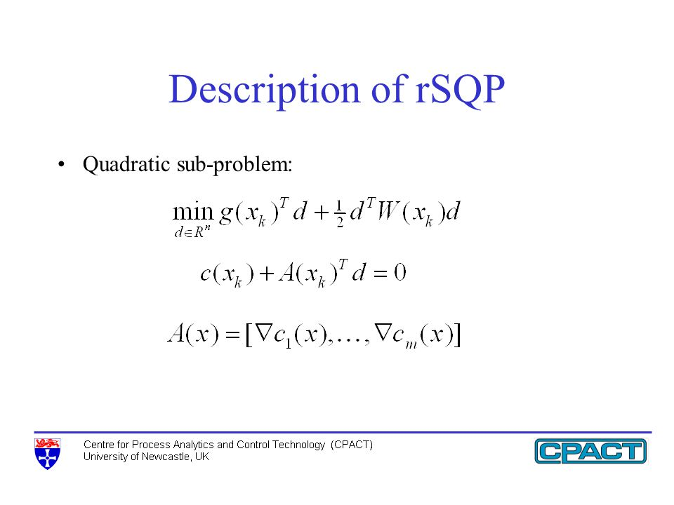 Description of rSQP Quadratic sub-problem: