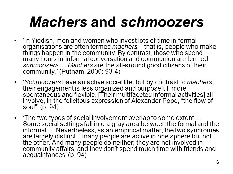 6 Machers and schmoozers 'In Yiddish, men and women who invest lots of time in formal organisations are often termed machers – that is, people who make things happen in the community.