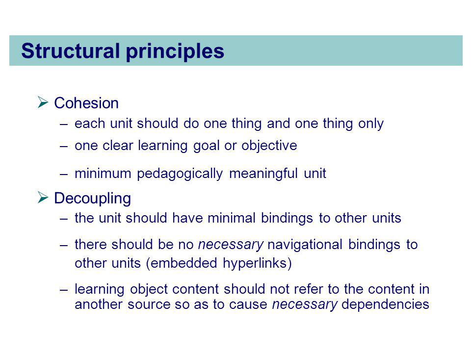 Structural principles  Cohesion –each unit should do one thing and one thing only –one clear learning goal or objective –minimum pedagogically meaningful unit  Decoupling –the unit should have minimal bindings to other units –there should be no necessary navigational bindings to other units (embedded hyperlinks) –learning object content should not refer to the content in another source so as to cause necessary dependencies
