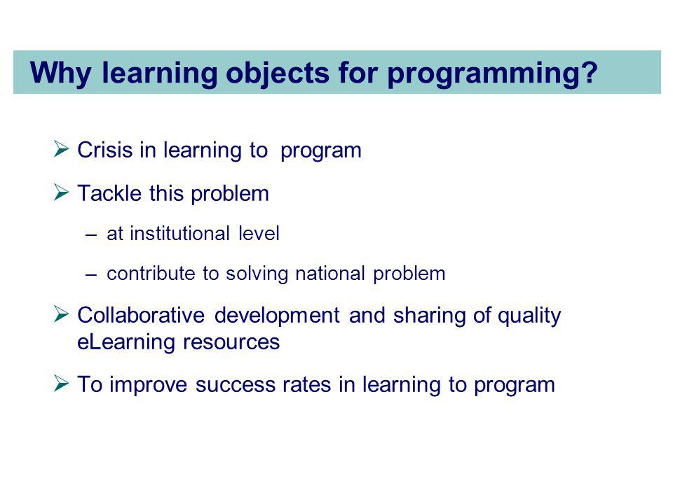Why learning objects for programming.