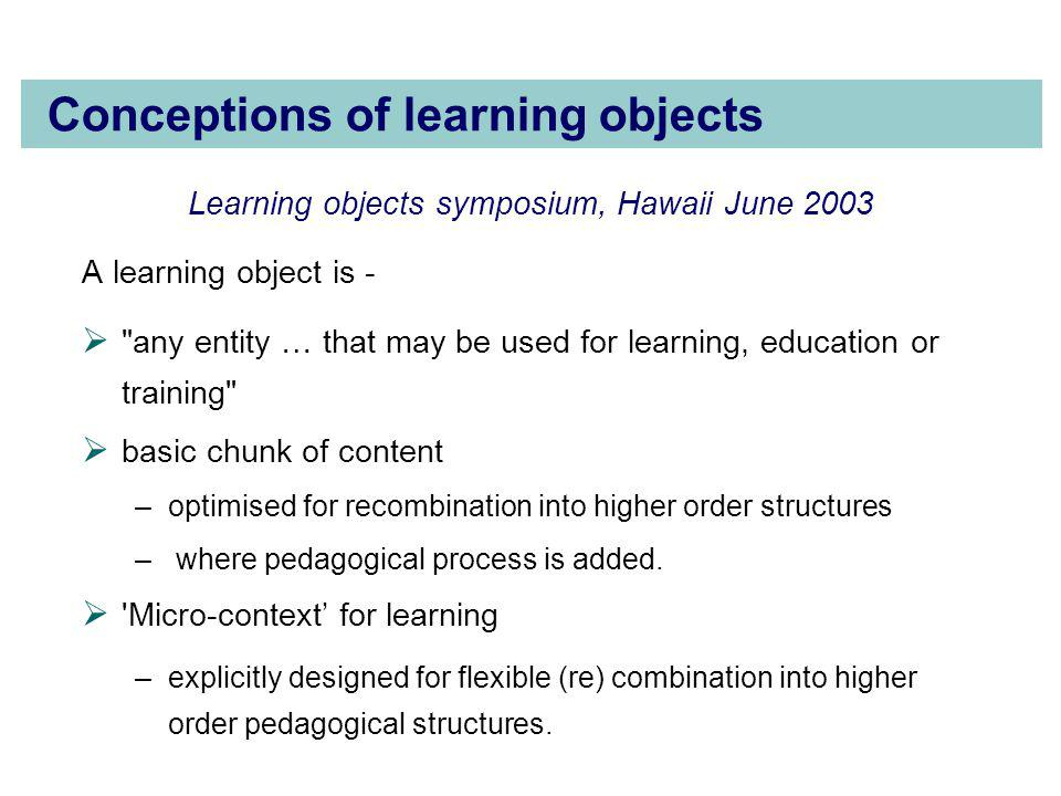 Conceptions of learning objects Learning objects symposium, Hawaii June 2003 A learning object is -  any entity … that may be used for learning, education or training  basic chunk of content –optimised for recombination into higher order structures – where pedagogical process is added.