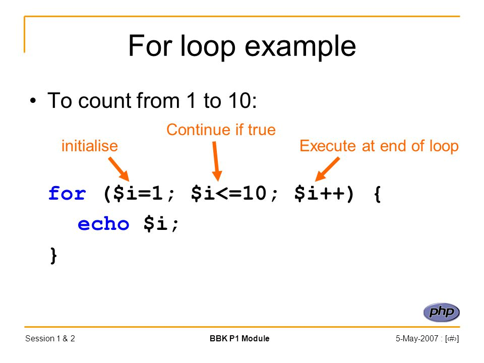 Session 1 & 2BBK P1 Module5-May-2007 : [‹#›] For loop example To count from 1 to 10: for ($i=1; $i<=10; $i++) { echo $i; } initialise Continue if true Execute at end of loop