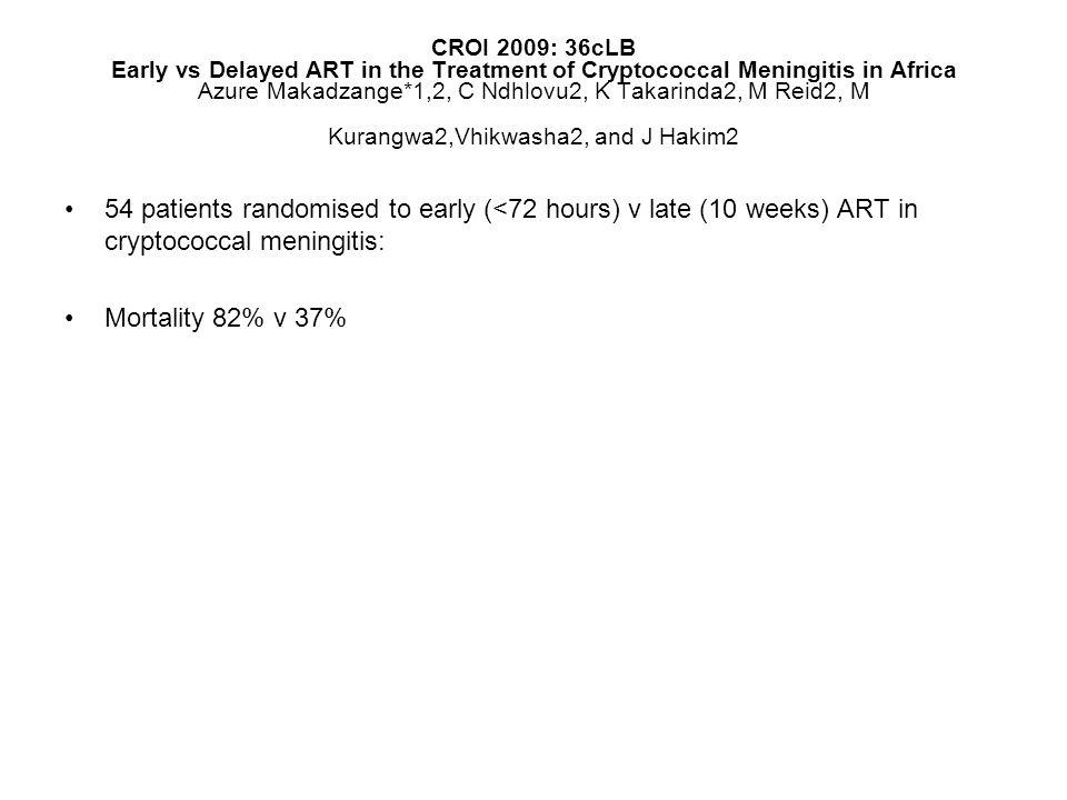 CROI 2009: 36cLB Early vs Delayed ART in the Treatment of Cryptococcal Meningitis in Africa Azure Makadzange*1,2, C Ndhlovu2, K Takarinda2, M Reid2, M Kurangwa2,Vhikwasha2, and J Hakim2 54 patients randomised to early (<72 hours) v late (10 weeks) ART in cryptococcal meningitis: Mortality 82% v 37%