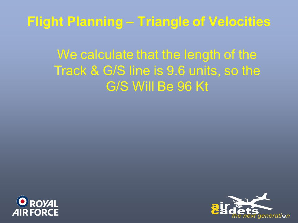 Flight Planning – Triangle of Velocities We calculate that the length of the Track & G/S line is 9.6 units, so the G/S Will Be 96 Kt