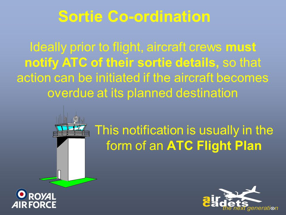 This notification is usually in the form of an ATC Flight Plan Ideally prior to flight, aircraft crews must notify ATC of their sortie details, so tha