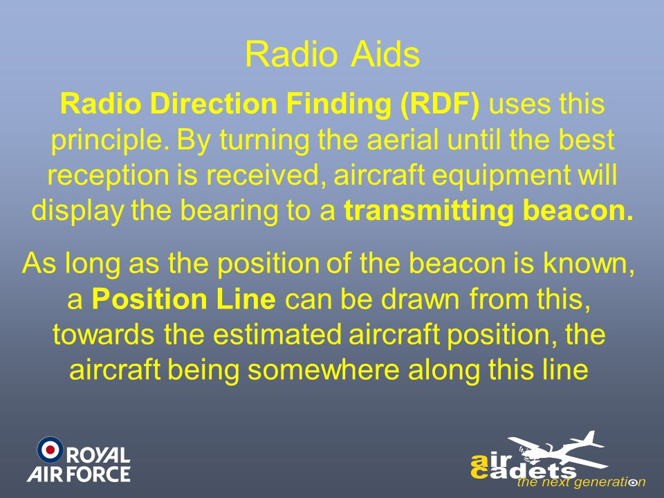 Radio Aids Radio Direction Finding (RDF) uses this principle. By turning the aerial until the best reception is received, aircraft equipment will disp