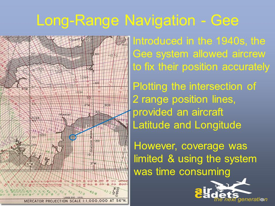 Long-Range Navigation - Gee Introduced in the 1940s, the Gee system allowed aircrew to fix their position accurately Plotting the intersection of 2 ra