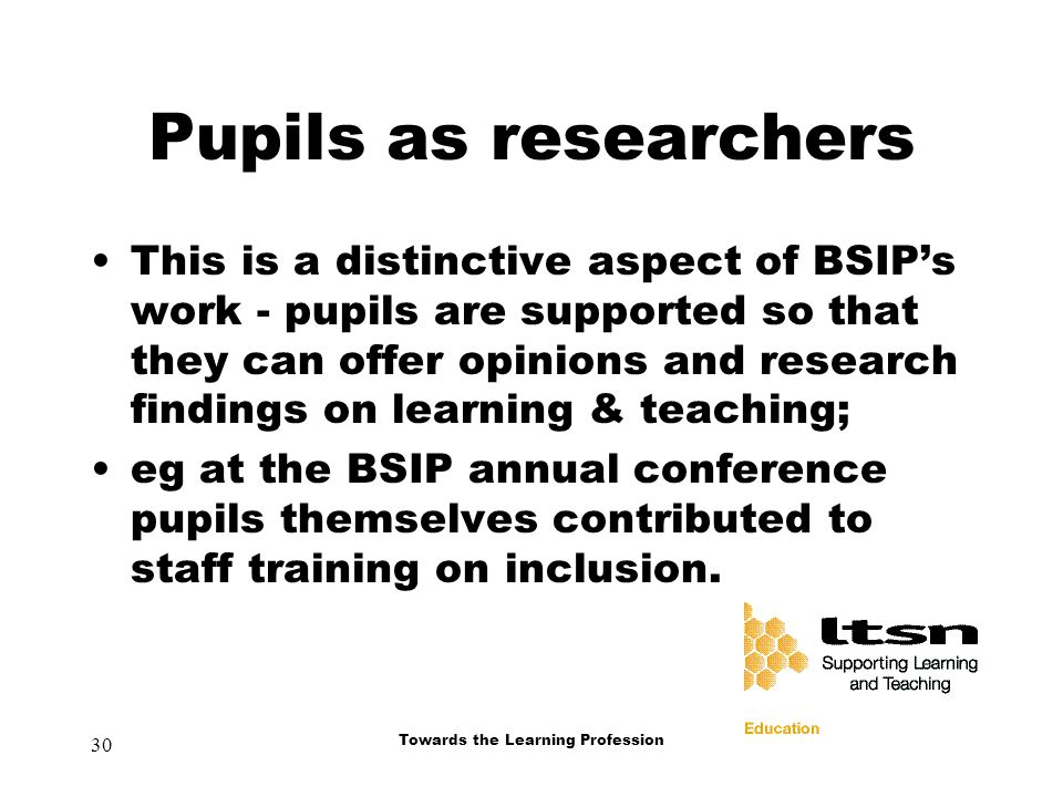 30 Towards the Learning Profession Pupils as researchers This is a distinctive aspect of BSIP's work - pupils are supported so that they can offer opinions and research findings on learning & teaching; eg at the BSIP annual conference pupils themselves contributed to staff training on inclusion.