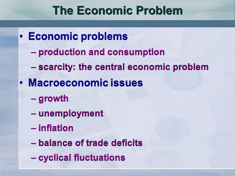 The Economic Problem Economic problems –production and consumption –scarcity: the central economic problem Macroeconomic issues –growth –unemployment –inflation –balance of trade deficits –cyclical fluctuations Economic problems –production and consumption –scarcity: the central economic problem Macroeconomic issues –growth –unemployment –inflation –balance of trade deficits –cyclical fluctuations