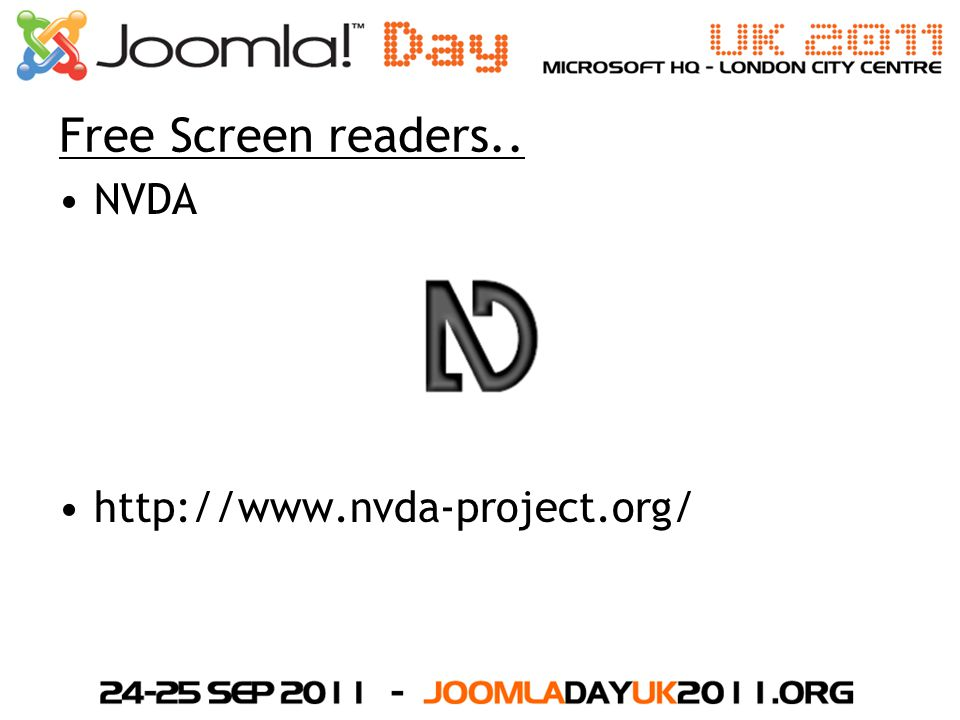 Free Screen readers.. NVDA http://www.nvda-project.org/