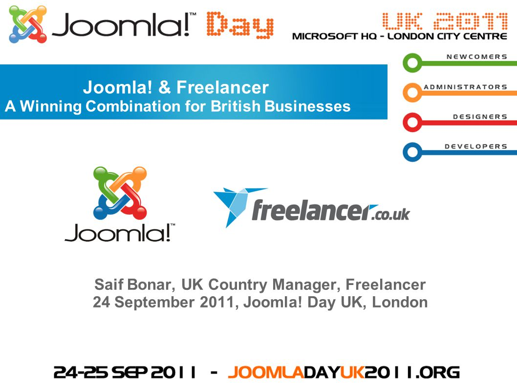 Saif Bonar, UK Country Manager, Freelancer 24 September 2011, Joomla.