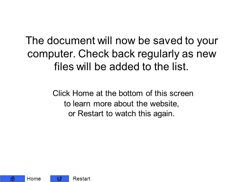 2 The document will now be saved to your computer.