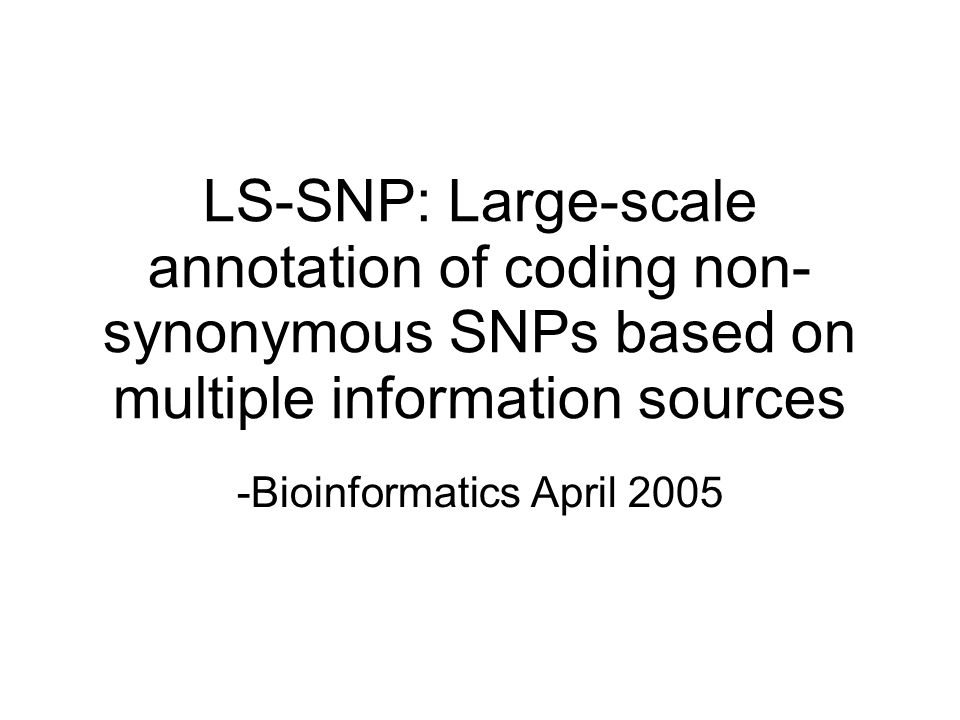 Motivation Over 9 million snps in dbsnp with little functional annotation nsSNPs are critical importance for disease and drug sensitivity Prediction of functional snps enables targetting of snps to be genotyped in candidate gene studies help identify causative snp within snps that are in ld