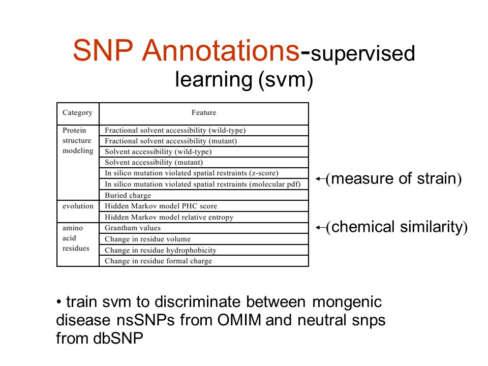 SNP Annotations- supervised learning (svm) train svm to discriminate between mongenic disease nsSNPs from OMIM and neutral snps from dbSNP ( measure of strain ) ( chemical similarity )