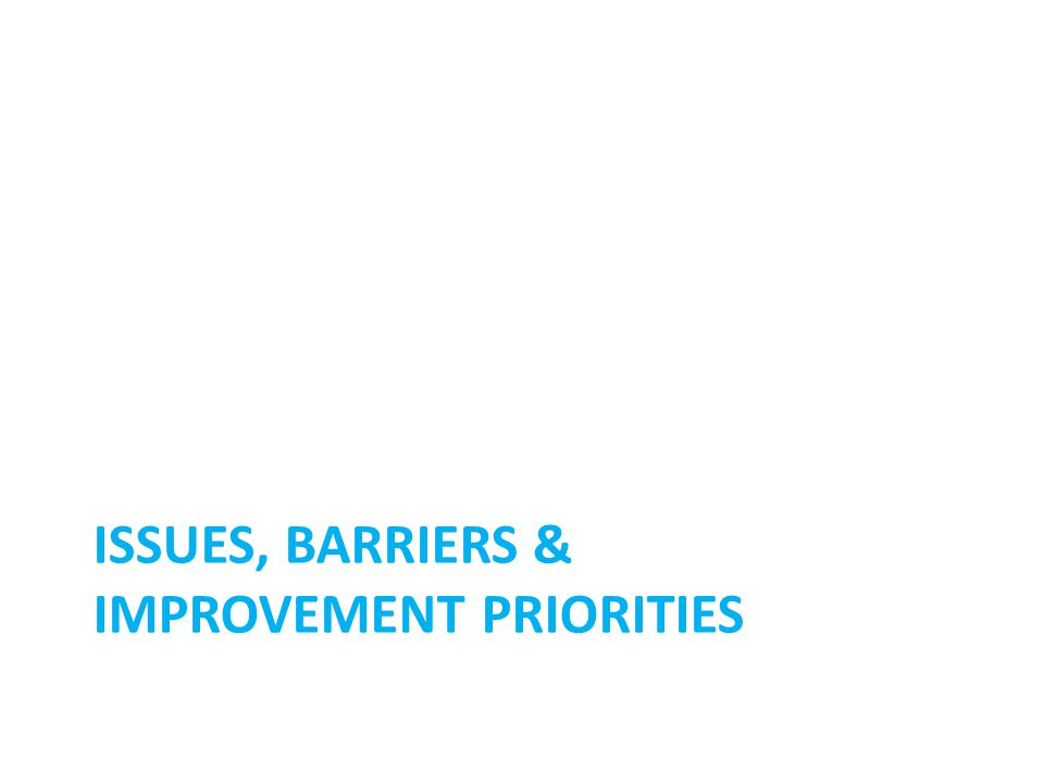 ISSUES, BARRIERS & IMPROVEMENT PRIORITIES