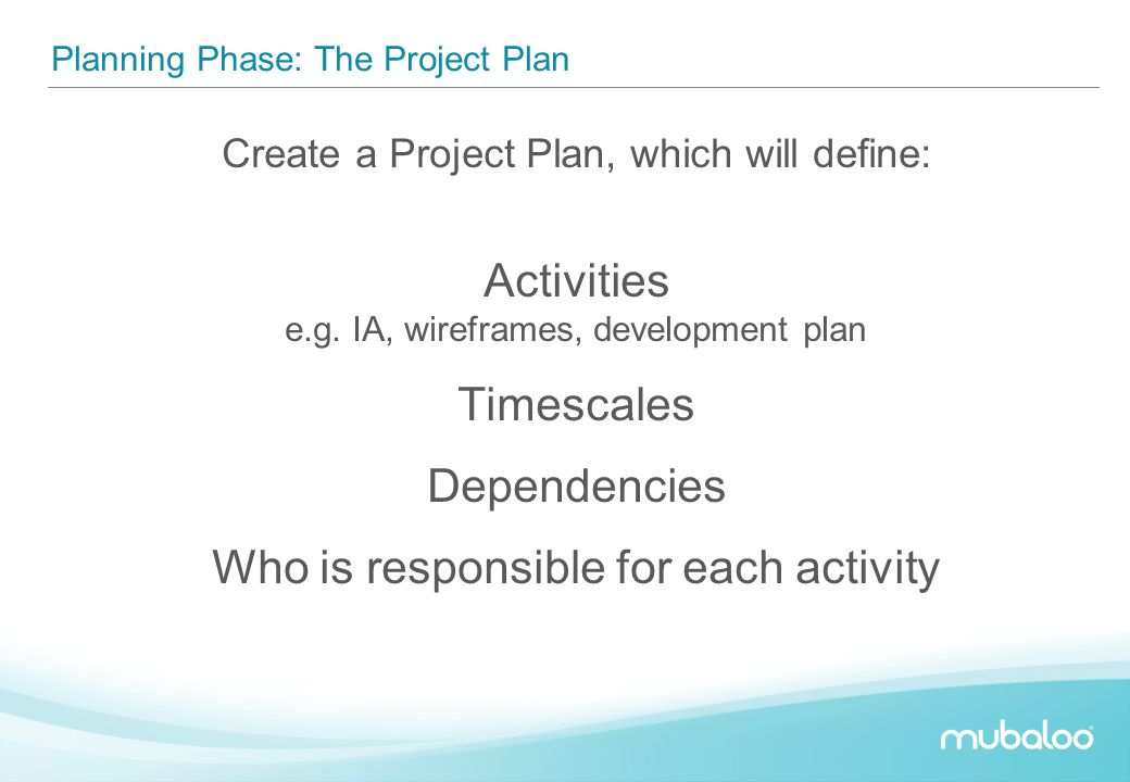 Planning Phase: The Project Plan Create a Project Plan, which will define: Activities e.g. IA, wireframes, development plan Timescales Dependencies Wh