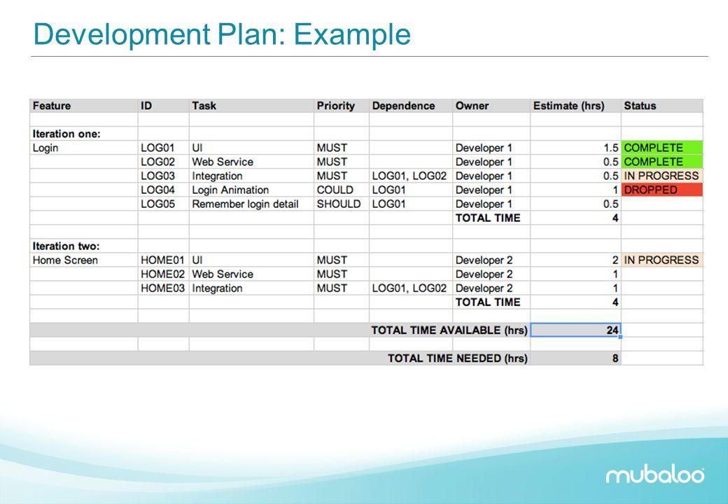 Development Plan: Example