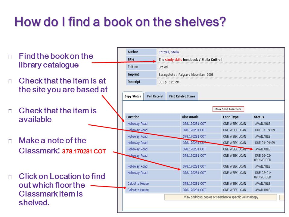 How do I find a book on the shelves.