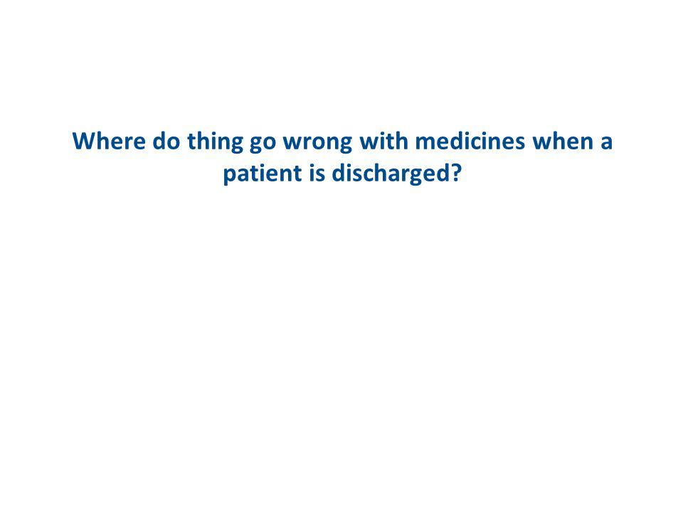 Where do thing go wrong with medicines when a patient is discharged?
