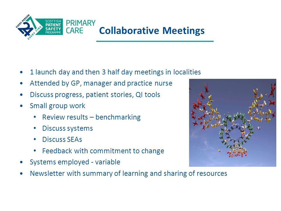 Collaborative Meetings 1 launch day and then 3 half day meetings in localities Attended by GP, manager and practice nurse Discuss progress, patient st