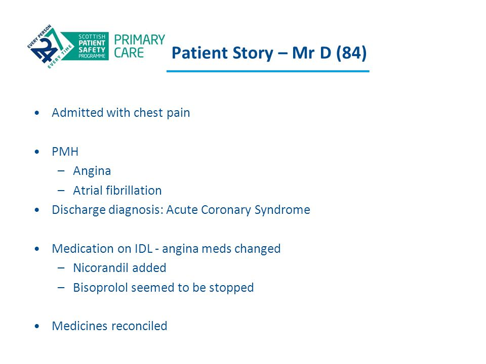 Patient Story – Mr D (84) Admitted with chest pain PMH –Angina –Atrial fibrillation Discharge diagnosis: Acute Coronary Syndrome Medication on IDL - a