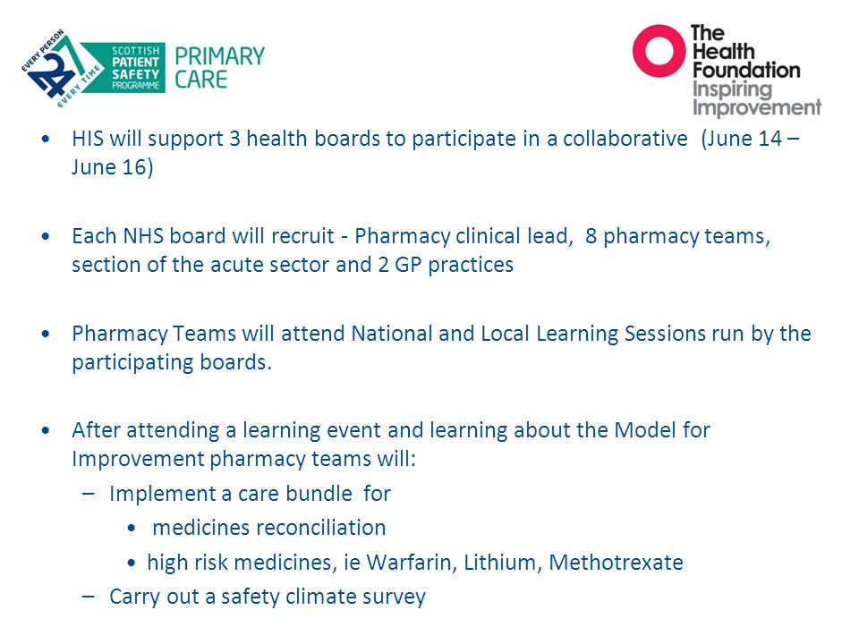 HIS will support 3 health boards to participate in a collaborative (June 14 – June 16) Each NHS board will recruit - Pharmacy clinical lead, 8 pharmac