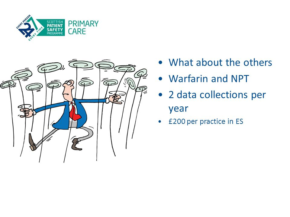 What about the others Warfarin and NPT 2 data collections per year £200 per practice in ES