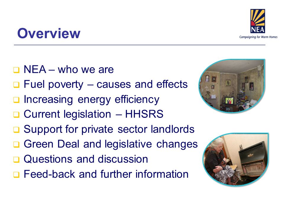 Overview  NEA – who we are  Fuel poverty – causes and effects  Increasing energy efficiency  Current legislation – HHSRS  Support for private sector landlords  Green Deal and legislative changes  Questions and discussion  Feed-back and further information
