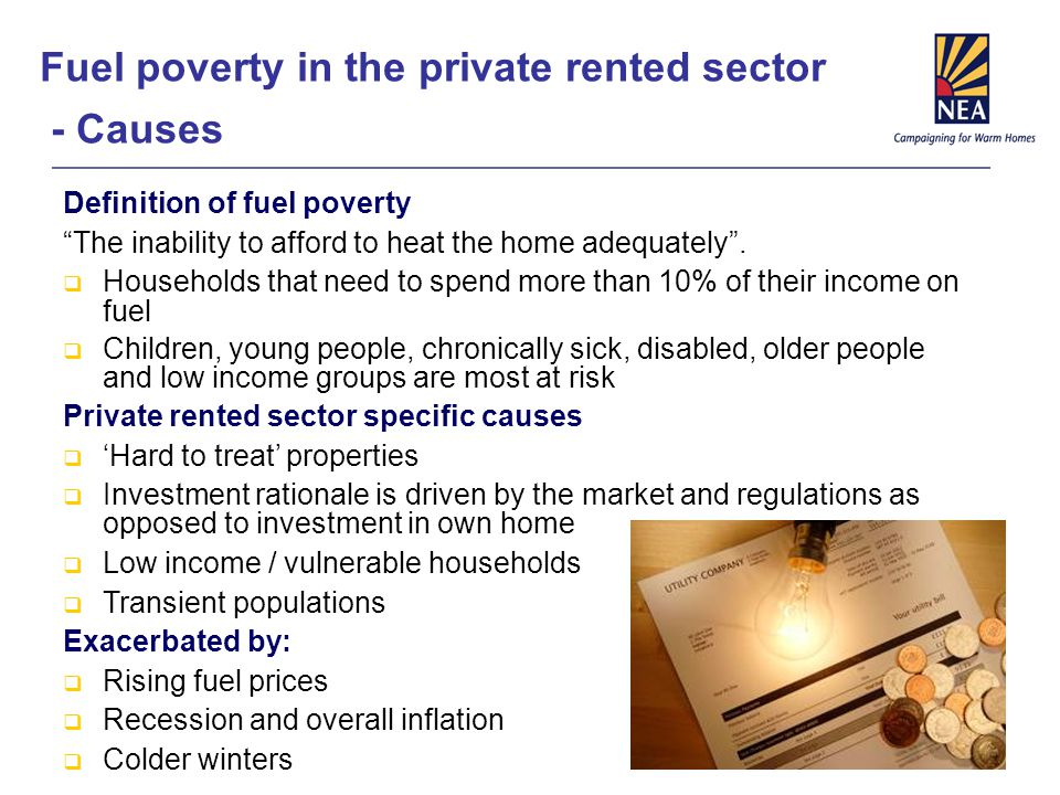 "Fuel poverty in the private rented sector - Causes Definition of fuel poverty ""The inability to afford to heat the home adequately"".  Households that"
