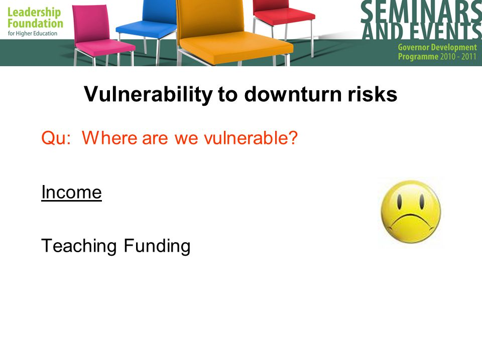 Vulnerability to downturn risks Qu: Where are we vulnerable Income Teaching Funding