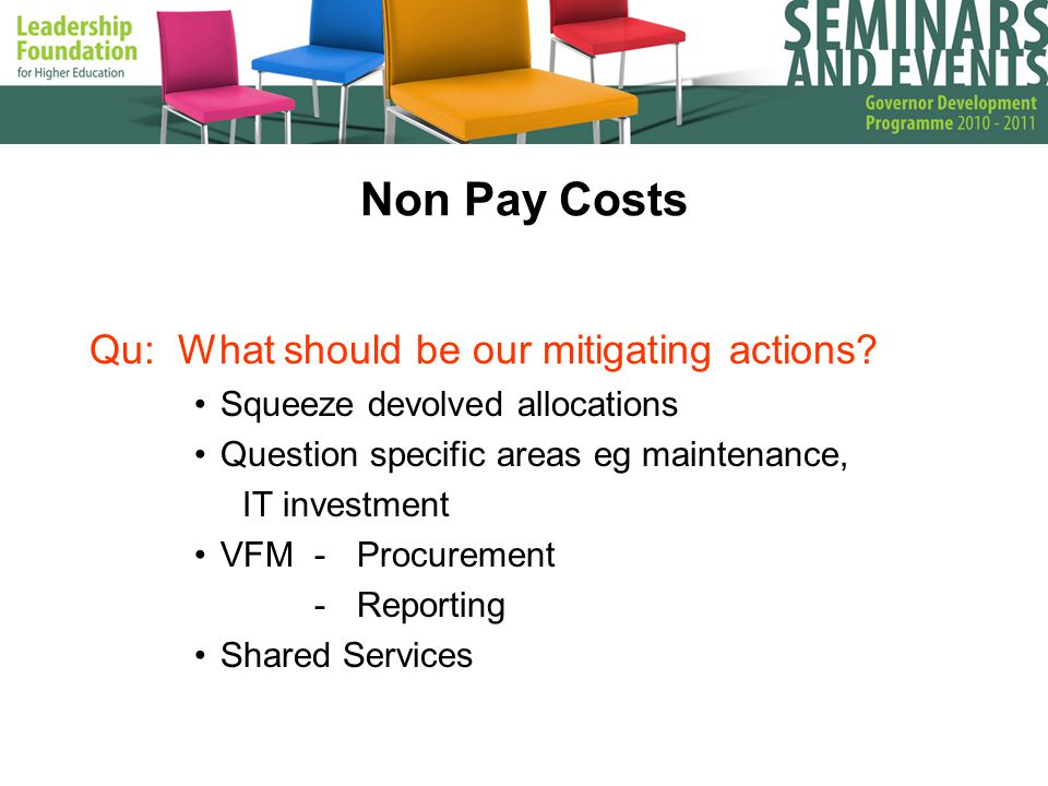 Non Pay Costs Qu: What should be our mitigating actions.
