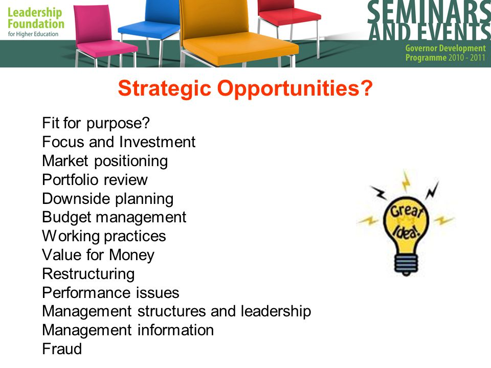 Strategic Opportunities. Fit for purpose.