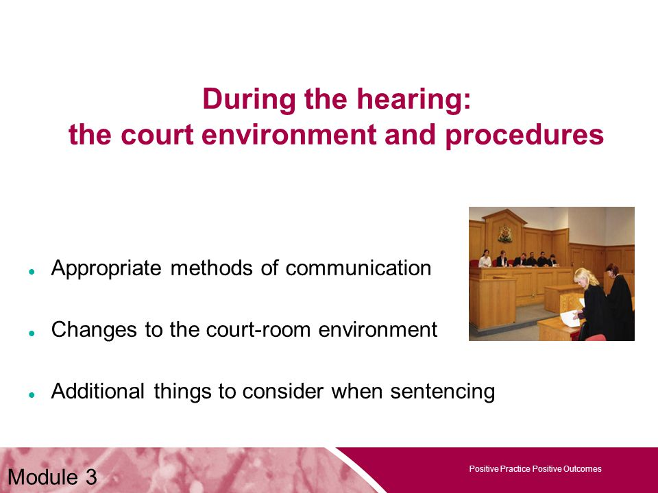 Positive Practice Positive Outcomes Module 3 During the hearing: the court environment and procedures Appropriate methods of communication Changes to the court-room environment Additional things to consider when sentencing