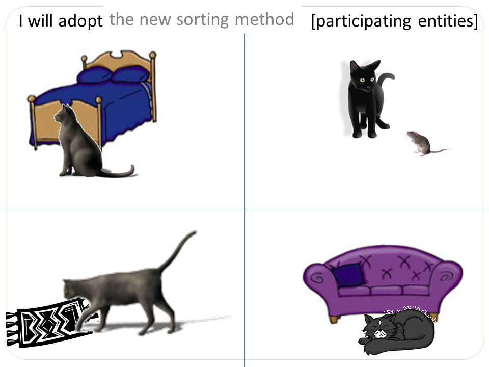 I will adopt __________________. [participating entities] the cat near the bedthe new sorting method