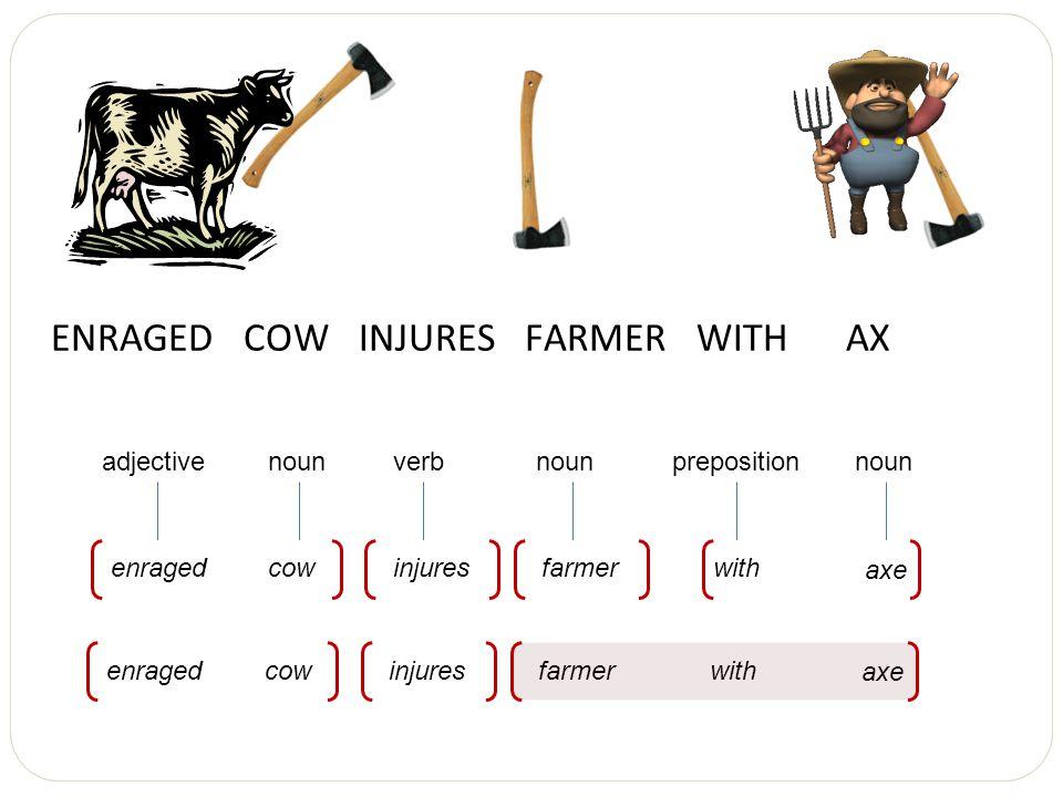 ENRAGED COW INJURES FARMER WITH AX nounadjectiveverbprepositionnoun cowenragedinjureswithfarmer axe noun cowenragedinjureswithfarmer axe