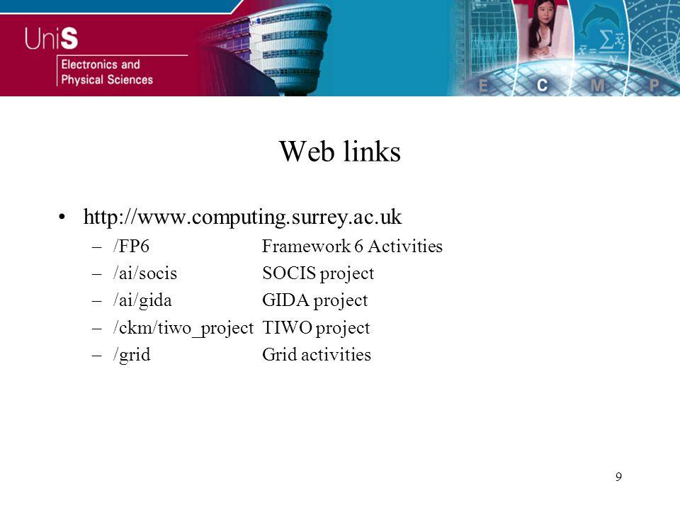 9 Web links http://www.computing.surrey.ac.uk –/FP6Framework 6 Activities –/ai/socisSOCIS project –/ai/gidaGIDA project –/ckm/tiwo_projectTIWO project –/gridGrid activities