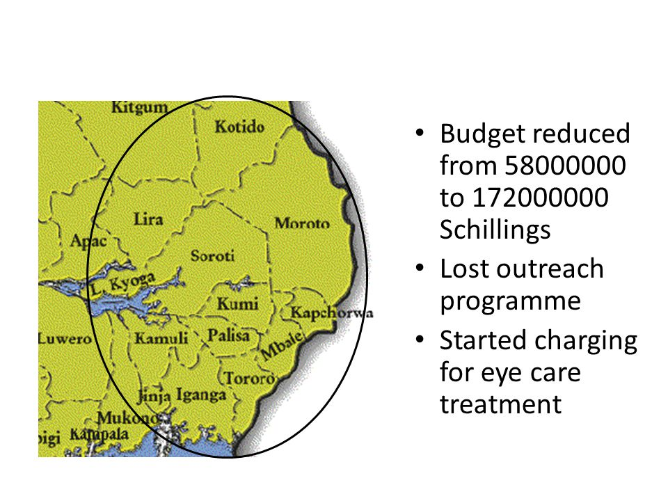 Budget reduced from to Schillings Lost outreach programme Started charging for eye care treatment
