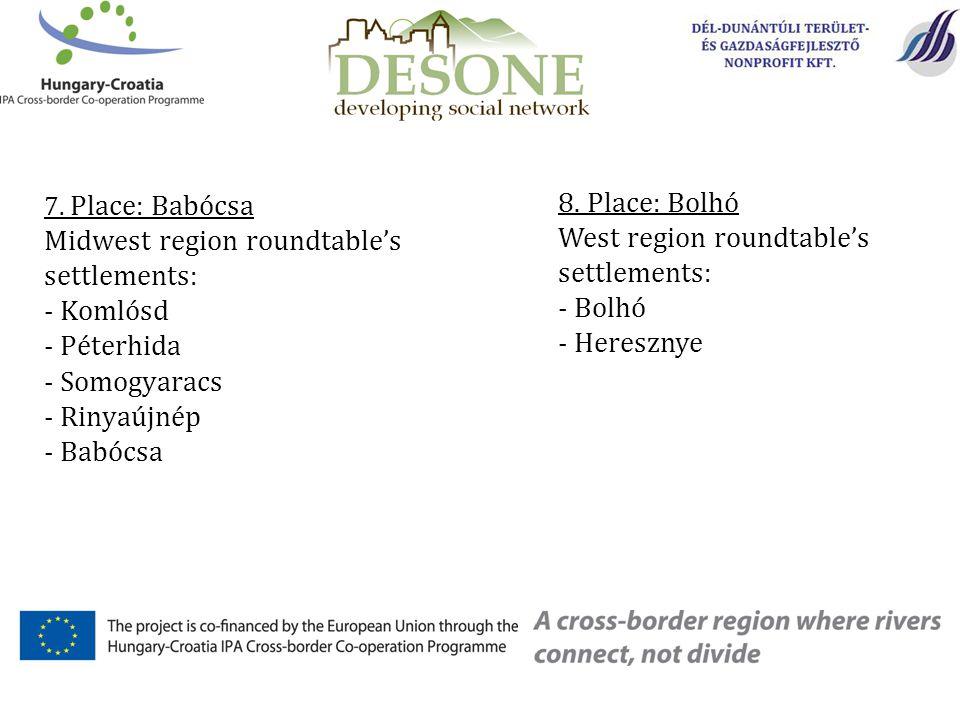 7. Place: Babócsa Midwest region roundtable's settlements: - Komlósd - Péterhida - Somogyaracs - Rinyaújnép - Babócsa 8. Place: Bolhó West region roun