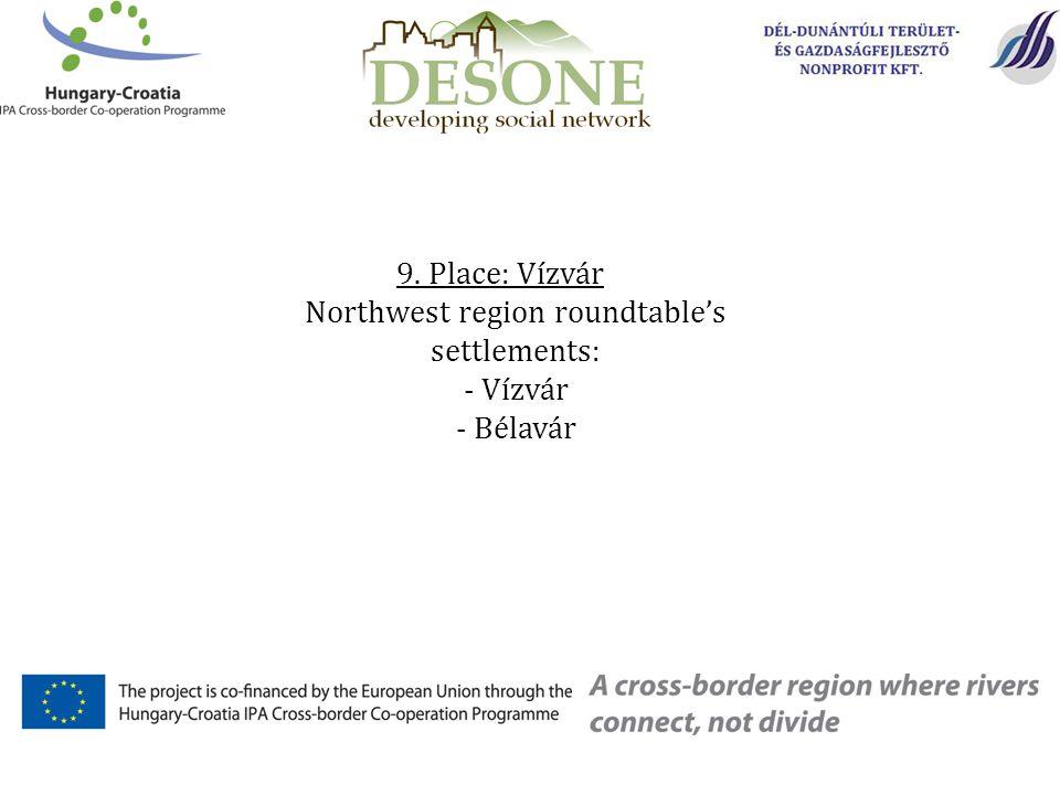 9. Place: Vízvár Northwest region roundtable's settlements: - Vízvár - Bélavár