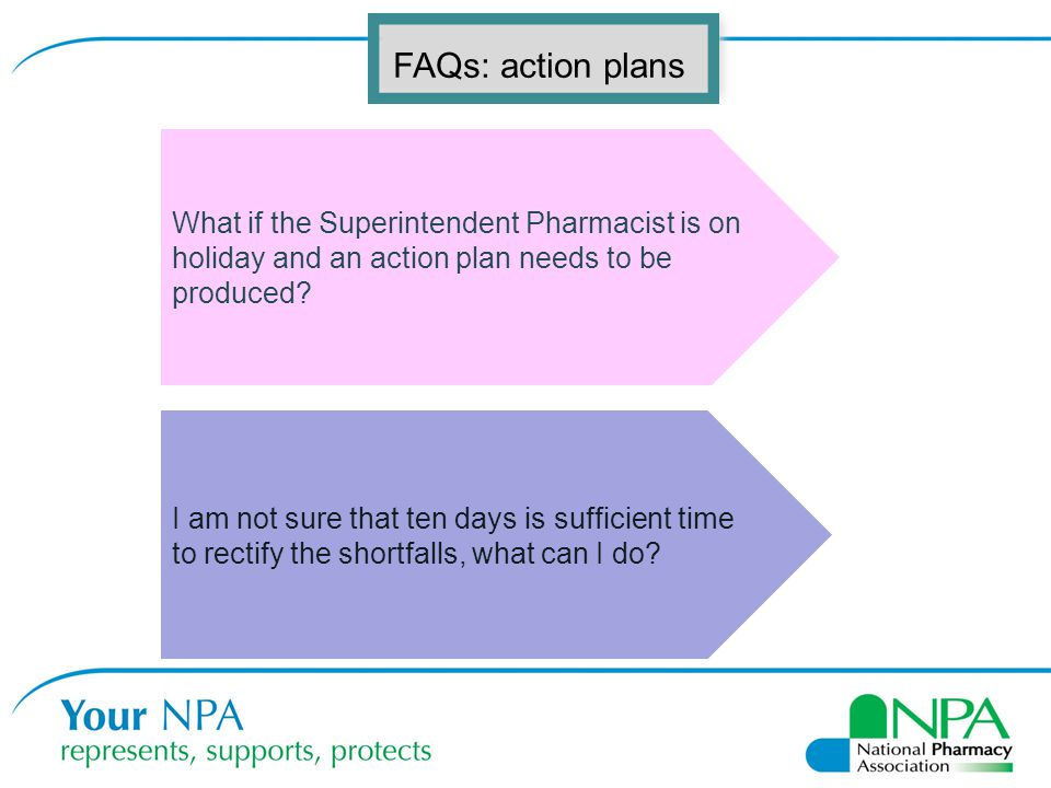 FAQs: action plans What if the Superintendent Pharmacist is on holiday and an action plan needs to be produced.