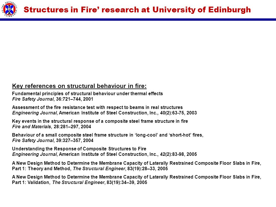 Fundamental principles of structural behaviour under thermal effects Fire Safety Journal, 36:721–744, 2001 Understanding the Response of Composite Str