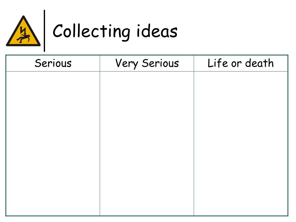 Collecting ideas SeriousVery SeriousLife or death