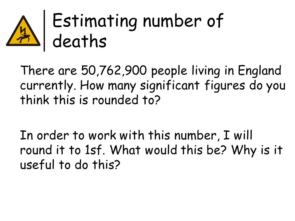 Estimating number of deaths There are 50,762,900 people living in England currently.