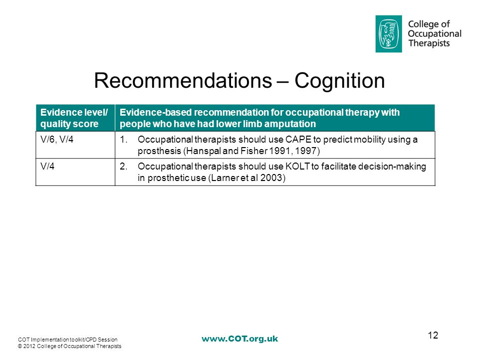 Recommendations – Cognition Evidence level/ quality score Evidence-based recommendation for occupational therapy with people who have had lower limb amputation V/6, V/41.Occupational therapists should use CAPE to predict mobility using a prosthesis (Hanspal and Fisher 1991, 1997) V/42.Occupational therapists should use KOLT to facilitate decision-making in prosthetic use (Larner et al 2003) 12 COT Implementation toolkit/CPD Session © 2012 College of Occupational Therapists