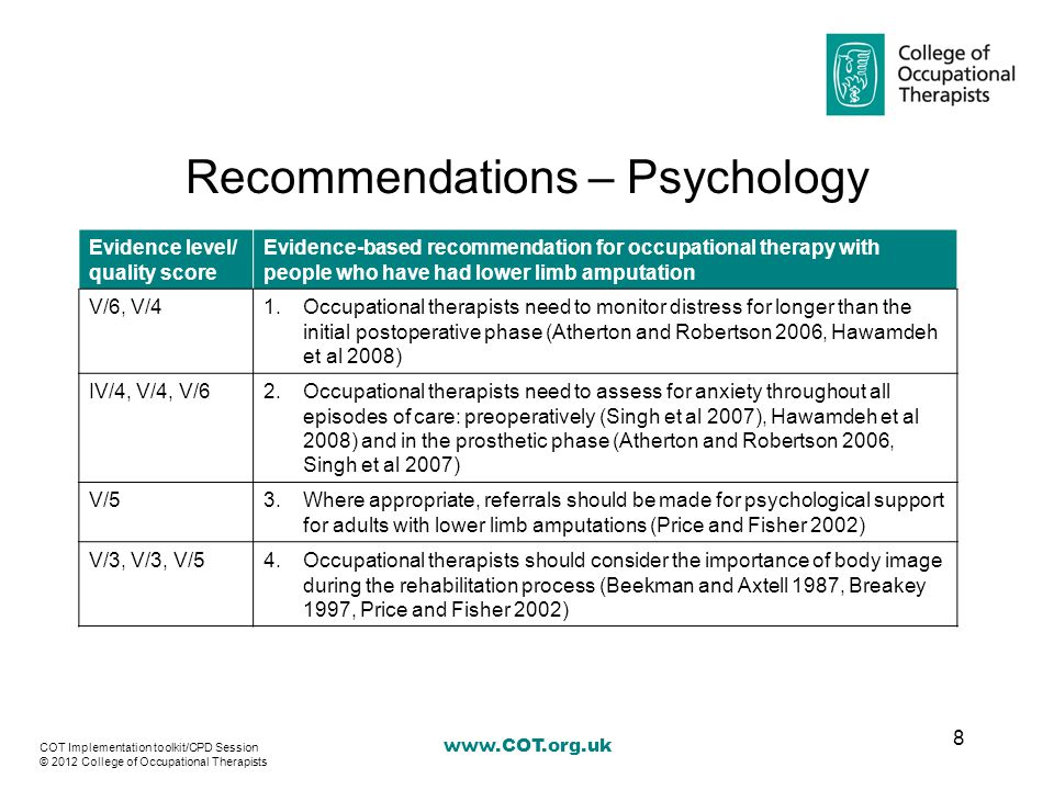 www.COT.org.uk Recommendations – Prosthetic use Evidence level/ quality score Evidence-based recommendation for occupational therapy with people who have had lower limb amputation V/51.Occupational therapists need to be aware of impaired hand function before prescription of liners used with lower limb prostheses (Baars et al 2008) V/32.Occupational therapists need to ascertain reasons for non-prosthetic use and refer to the multidisciplinary team as appropriate (Beekman and Axtell 1987) V/33.Older adults with above-knee or though-knee amputations should be provided with a wheelchair at the prosthetic and post-prosthetic stage of rehabilitation (Beekman and Axtell 1987) 9 COT Implementation toolkit/CPD Session © 2012 College of Occupational Therapists